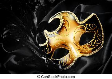 sort, silke, maske, baggrund, karneval
