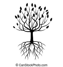 sort, vektor, træ, illustration., roots.
