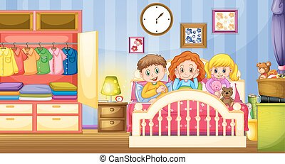 sov, børn, soveværelse, tre