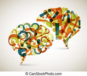spørgsmål, abstrakt, -, svar, illustration