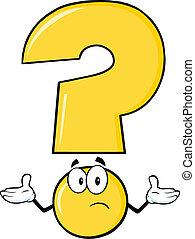 spørgsmål marker, gul