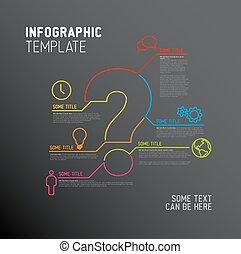 spørgsmål, skabelon, rapport, mærke, vektor, infographic