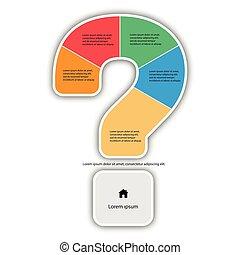 spørgsmål, vektor, skabelon, mærke, infographic, rapport, linjer, iconerne, lavede