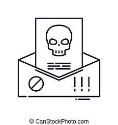 spam, symbol, tynd, udkast, væv, illustration, hvid, den agterste roer, lineære, isoleret, konstruktion, vektor, editable, beklæde, ikon, baggrund., tegn, begreb