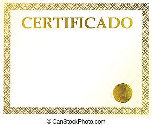 spansk, certifikat, blank