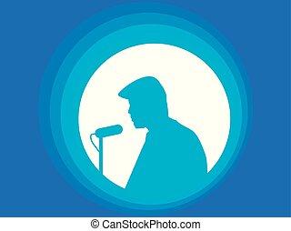 speaker's, silhuet, illustration, vektor, speech., microphone., man., mand