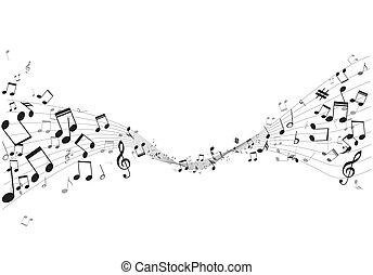spell, notere, vektor, musik, adskillige