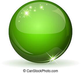sphere, grønne, whi, blanke, isoleret