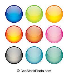 sphere, sæt, netværk, iconerne