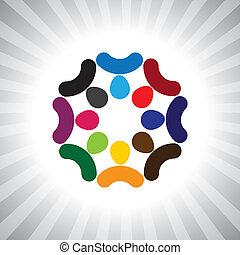 spille, også, morskab, ansatte, arbejdere, selskab, brainstorming(meeting)-, folk, møde, har, vektor, børn, og, diversity, hjerne, graphic., dåse, sammenslutning, børn, enhed, virksomhedsledere, illustration, forestiller, denne