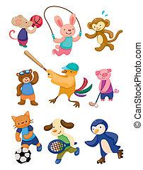 spiller, sport, cartoon, dyr
