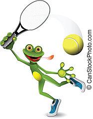 spiller, tennis, frø