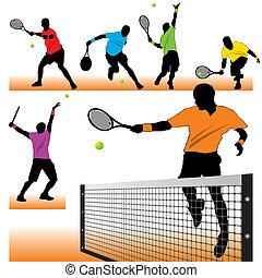 spillere, silhuetter, tennis, sæt, 6