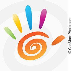 spiral, abstrakt, vektor, farvet, hånd