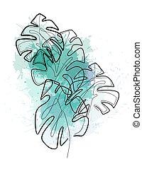splashes., watercolor, grønne, monoline, kontur, foliage., tropical busk, blade, monstera, trendy, komposition