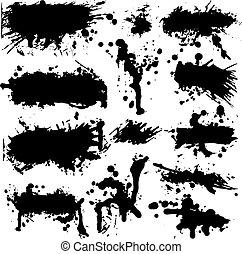 splatter, vektor, grunge, samling, blæk