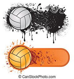 sport, grunge, volleyball, blæk