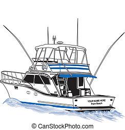 sport, offshore, fiske båd