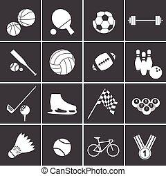 sport, sæt, ikon