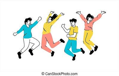springe, affattelseen, folk, illustrarion, unge