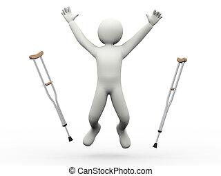 springe, det crutches, 3, mand, kaste, glade