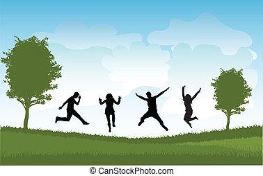 springe, folk, gruppe