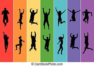 springe, folk, silhuetter, regnbue, baggrund