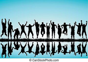 springe, gruppe, unge mennesker