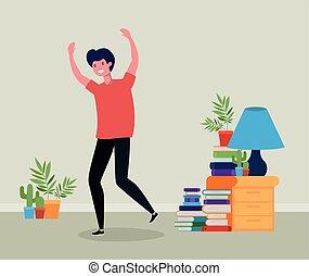 springe, livingroom, unge menneske