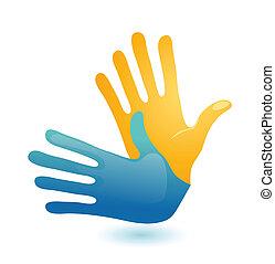 sprog, døve, to, symbol., vektor, konstruktion, arme, hånd gestus, ikon