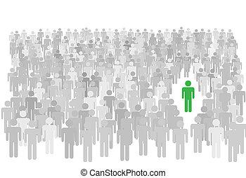 stænder, flok, folk, symbol, store, person, individ, ydre