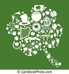 st., baggrund, patrick, kløver, grønnes blad, iconerne