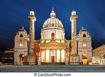 st.., kirke, -, østrig, charles's, nat, wien