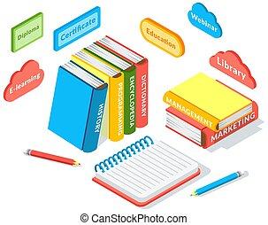stak, knapper, undervisning, iconerne, komposition, online, isometric, notesbog, bøger, blyant