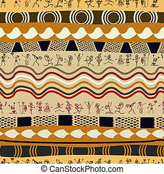 stamme, folk, mønster, primitiv, silhuetter, seamless