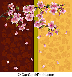 stemningsfuld, kirsebær, -, japansk, træ, sakura, baggrund
