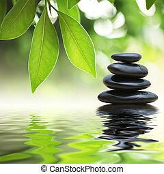 sten, vand, pyramide, zen, overflade