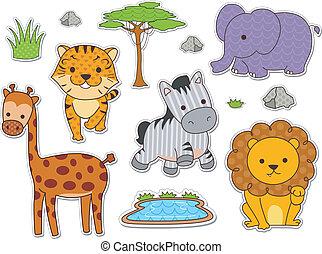 stickers, safari, dyr