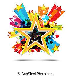 stjerne, abstrakt formgiv, baggrund, fest