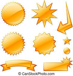 stjerne, appelsin, konstruktioner, briste