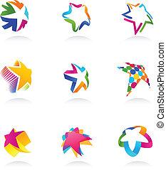 stjerne, vektor, iconerne, samling
