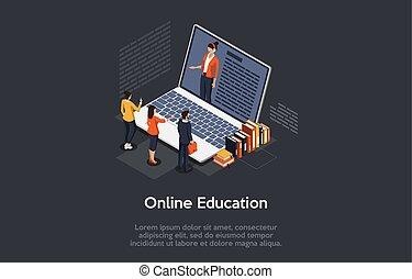 stor, baggrund, gruppe, emne, laptop, text., tutor, online, mørke, screen., concept., isometric, undervisning, illustration, 3, style., komposition, kvindelig, beliggende, folk, characters., vektor
