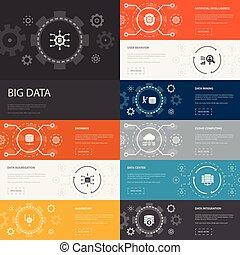 stor, enkel, intelligens, 10, beklæde, kunstige, infographic, opførsel, iconerne, database, bruger, data, banners., centrum