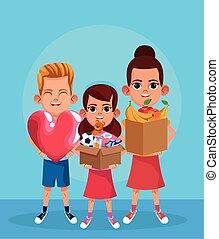 stor, holde, piger, cartoon, hjerte, bokse, farverig, konstruktion, dreng, donation, stuffs