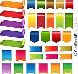stor, sæt, bånd, farverig, etikette