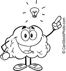 stor, skitseret, ide, hjerne