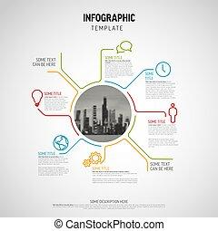 stor, vektor, cirkel, fotografi, infographic, skema, skabelon