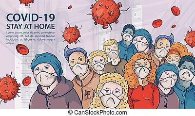 store, meget, kontur, illustration, masker, coronavirus, advarsel, covind, indskrift, flok, molekyler, 2019-ncov, folk, virus, rød, medicinsk