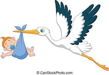 stork, baby, cartoon, dreng