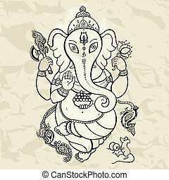 stram, ganesha, illustration., hånd